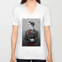 hannibal V-neck T-shirts featuring Hannibal by Andrew Sebastian Kwan