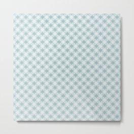 Aqua Green Snowflake Pattern Metal Print