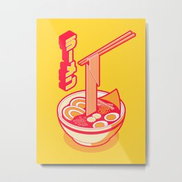 Japanese Ramen Isometric Minimal - Solid Yellow Metal Print