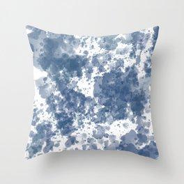 Indigo Blue Ink Splash Throw Pillow