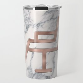 Rose Gold Salon Chair on Marble Background - Salon Decor Travel Mug
