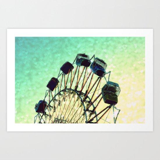 Ferris Wheel Heart Bokeh Art Print