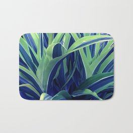 Exotic, Lush Blue and Green Leaves Bath Mat