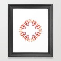 Orange floral circle Framed Art Print