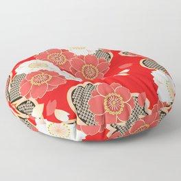 Japanese Vintage Red Black White Floral Kimono Pattern Floor Pillow
