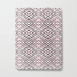 Pink and Black Tribal Stripes Metal Print