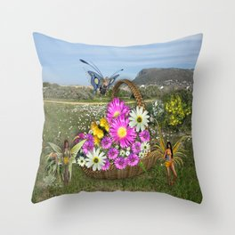 Spring basket gatherers Throw Pillow