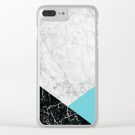 White Marble - Black Granite & Teal #871 Clear iPhone Case