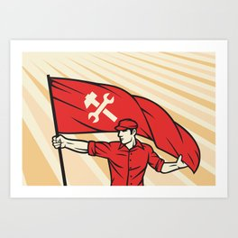 worker holding a flag - industry poster (design for labor day) Art Print