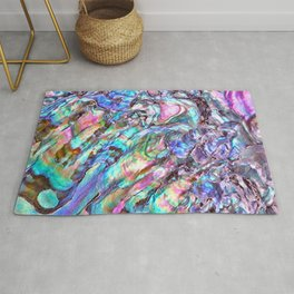 Shimmery Rainbow Abalone Mother of Pearl Rug