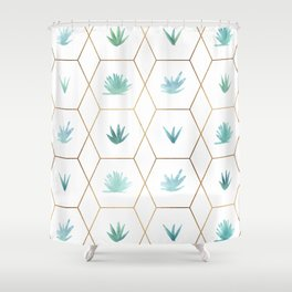 Geometric Succulents Shower Curtain