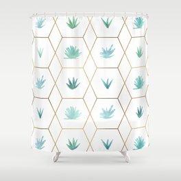 Geometric Succulents Shower Curtain