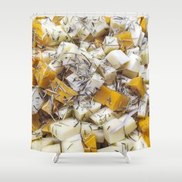 Pieces of feta and greek cheese Shower Curtain