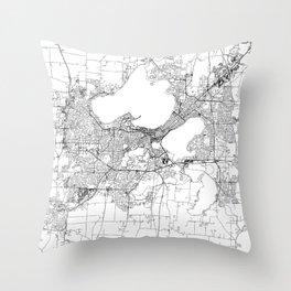 Madison White Map Throw Pillow