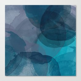Abstract Watercolor Circles in Ombre Blue Canvas Print