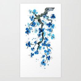 Blue Japanese Blossoms Art Print