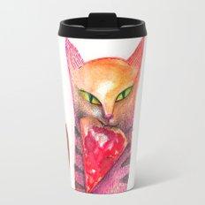 pet cat with precious prey Travel Mug