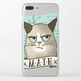 Grouchy Math Cat Clear iPhone Case