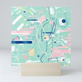 Modern mint strokes and dots creative art Mini Art Print