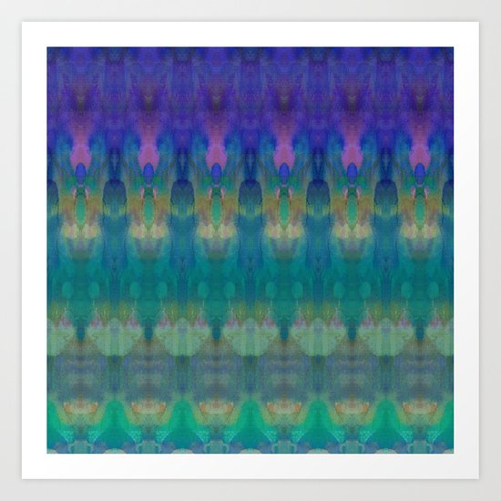 Tribal Diamonds Watercolour Blue Art Print