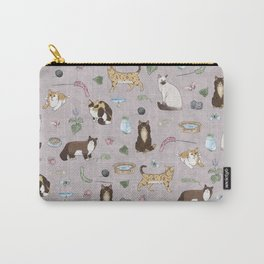 Cute Realistic Cats Design- Brown & White Kitty Pattern 1 Carry-All Pouch