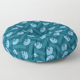 Blue sloths and chevrons Floor Pillow