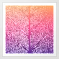 Simple leaf pattern in pink & violet gradient Art Print
