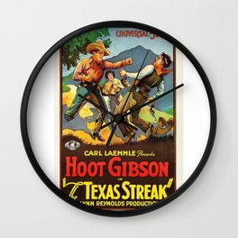 Vintage Classic Movie Posters, The Texas Streak Wall Clock