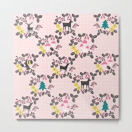Woodland animals and mushrooms Metal Print