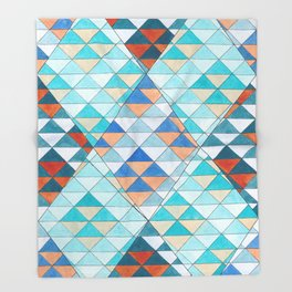 Triangle Pattern No.10 Shifting Turquoise and Orange Throw Blanket