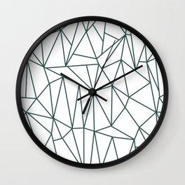 Geometric Cobweb (Dark Green & White Pattern) Wall Clock