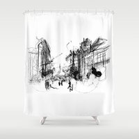 alchemy Shower Curtains featuring Alchemy Sketch - City by Meredith Nolan