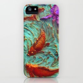DIMENSIONAL PURPLE IRIS FLOWERS & GOLDEN KOI FISH iPhone Case