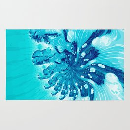 Abstract Art in Blue Fractal Rug