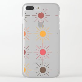 Earth Tone Suns Pattern Clear iPhone Case