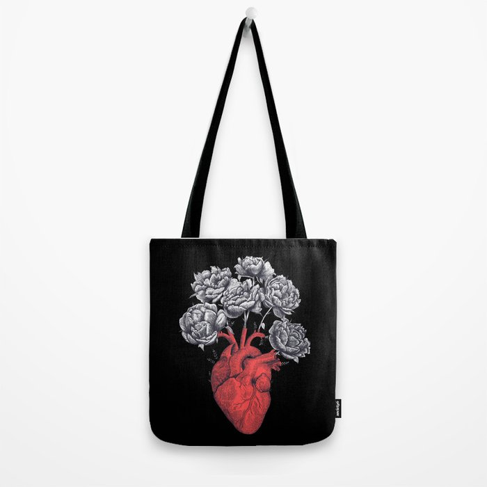 Heart with peonies on black Tote Bag