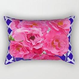 PINK ROSE CLUSTER PURPLE-GREY LATTICE  DESIGN Rectangular Pillow