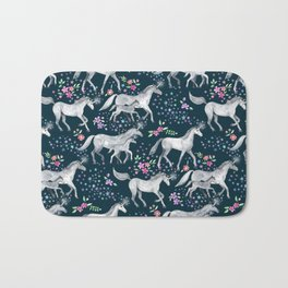 Unicorns and Stars on Dark Teal Bath Mat