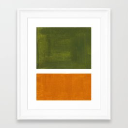Olive Green Yellow Ochre Minimalist Abstract Colorful Midcentury Pop Art Rothko Color Field Framed Art Print