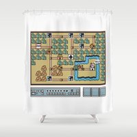 mario bros Shower Curtains featuring Super Mario Bros 3. World 1 by Mike Halliday