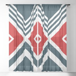 Nautical geometry Sheer Curtain