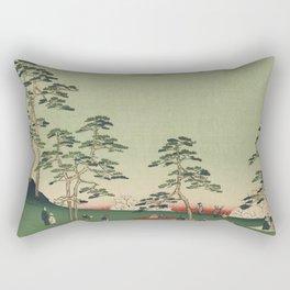 Spring Trees Mountain Ukiyo-e Japanese Art Rectangular Pillow
