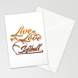 LIVE - LOVE - SOFTBALL Stationery Cards