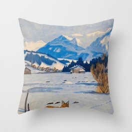 Jugend-Munich illustrated weekly for art and life - 1906 Cold Climate Snow Mountains Fox Throw Pillow