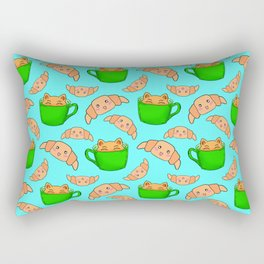 Cute happy playful funny Kawaii baby kittens sitting in little green espresso coffee cups, sweet adorable yummy croissants cartoon light pastel blue design. Rectangular Pillow
