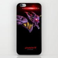 evangelion iPhone & iPod Skins featuring Evangelion Unit 01 - Rebuild of Evangelion 3.0 Movie Poster by Barrett Biggers