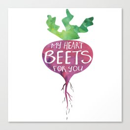 My heart BEETS for you - funny pun design Canvas Print