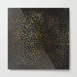 Gold polkadots dots on black backround-Elegant and Luxury Design Metal Print
