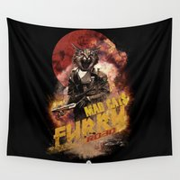 furry Wall Tapestries featuring Mad Cats : Furry Road  by Artist RX