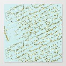French Script on Paris Blue Canvas Print